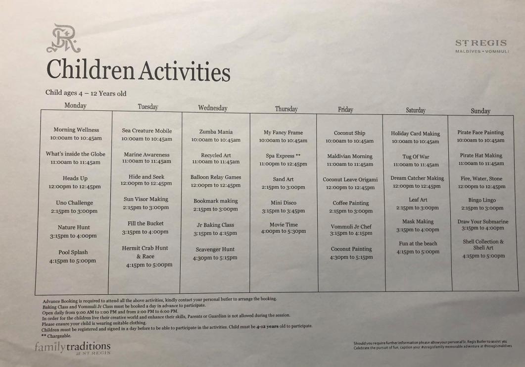 セントレジス ・モルディブ・ヴォンムリ・リゾート 施設 アクティビティ 無料 チルドレンアクティビティ children activities weekly wellness activities free